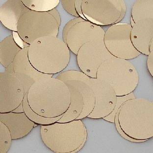 15mm Flat Round Metallic Gold Sequins x 100